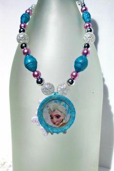Handmade Frozen Elsa Bottlecap Necklace  Handmade Painted Paper Beads by WillowLaneDesignsCo on Etsy