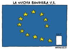 Natangelo (2016-06-25) La nuova bandiera U.E. – http://www.natangelo.it #brexit #ue #granbretagna.  UK EU Brexit