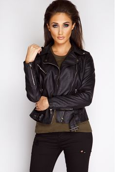 Megan McKenna Black Belted Leather Jacket at misspap.co.uk