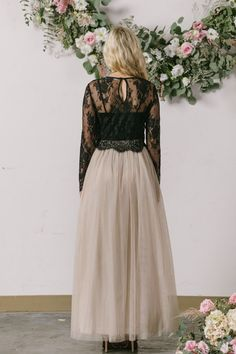 Amelie Longsleeve Black Lace Crop Top