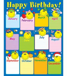 Birthday chartlets are an excellent way to celebrate students' birthdays! The Smiley Face Birthday chart measures x and includes a resource guide on the back. Birthday Calendar Classroom, Birthday Bulletin Boards, Classroom Bulletin Boards, Classroom Rules Poster, Classroom Charts, Classroom Displays, Class Birthdays, Kindergarten Classroom Decor, Birthday Display