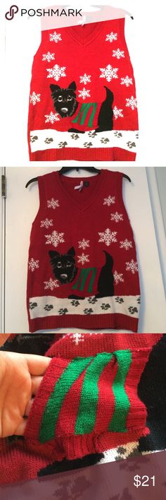 Scottie Dog Ugly Sweater Vest Size M ugly sweater!!! Silly, cute, and will hopefully win if there's a contest! Also, the dog's sweater can be used as makeshift pocket;) Love by Design Sweaters V-Necks