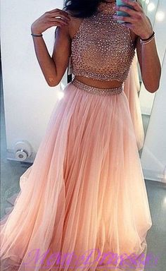 Two Pieces Prom Dresses Ball Gown High Neck With Rhinestones Beaded 2 Pieces Pink Tulle Prom Gown · meetdresses · Online Store Powered by Storenvy