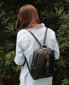Black leather backpack  Black woman backpack  by Malvahandbags