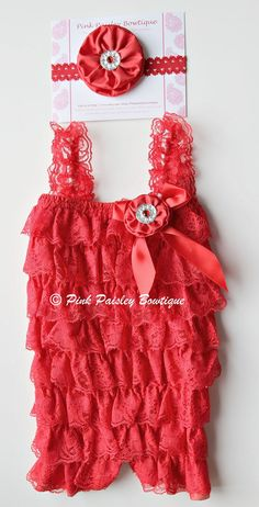 3 pc SET- Red Petti Romper- Ruffle Rompers - Baby Girl Rompers - Christmas Outfit- Baby Photo Prop - Baby Romper