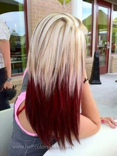 Crimson and Blonde Hair❥ Best ombre hair, Hair styles, Ombre hair hair color ideas red black and blonde - Hair Color Ideas Best Ombre Hair, Ombre Hair Color, Red Ombre, 2 Tone Hair Color, Red Velvet Hair Color, Bold Hair Color, Hairstyles Haircuts, Pretty Hairstyles, Blonde Hairstyles