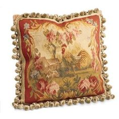 Aubusson pillows...love this one!   I know a lady who sells fabrics like this - upholstry fabrics - in Sulphur springs.