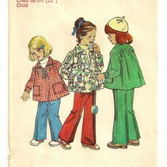 A Pullover, Long Sleeve, Collared Smock Top and Elastic Waist Pants Pattern for Children