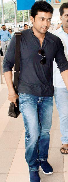 Surya at Mumbai airport. #Tollywood #Fashion #Style #Handsome
