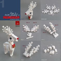 I'm dreaming of a white reindeer [Instructions - Christmas - Lego Lego Christmas Ornaments, Lego Christmas Village, Lego Winter Village, Christmas Christmas, Lego Design, Lego Friends, Legos, Lego Activities, Lego Games