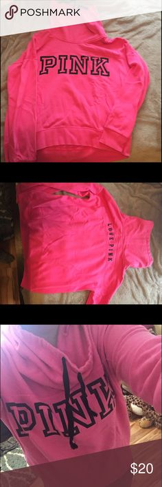 VS Pink cowl neck sweatshirt This is a bright pink sweatshirt from PINK, it is very comfortable and in great condition. It has a cowl neck and a hood, it is also very warm Tops Sweatshirts & Hoodies