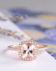 Morganite Engagement Ring Rose Gold Wedding Women Bridal Set