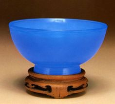 The Peabody Essex Museum's Chinese Glass Masterpieces -Bowl, China, Jiaqing period (1796-1820), glass with teak stand.