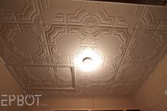 EPBOT: DIY Faux Tin Tile Ceiling- Styrofoam ceiling tiles you can put up over popcorn!
