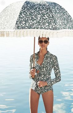 ~tory burch resort via la dolce vita Under My Umbrella, Fancy Umbrella, White Umbrella, Bikinis, Swimsuits, Beach Please, Bathing Beauties, Lingerie, Warm Weather