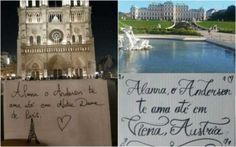 Jovem presenteia namorada com mensagens de amor em 46 cidades
