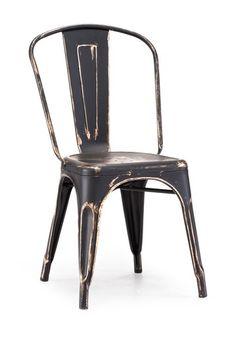 Elio Chair in Antique Black/Gold.