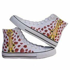 Lovely giraffe hand-painted canvas shoes  woman's fashion shoes  Z-B1076 $33.16