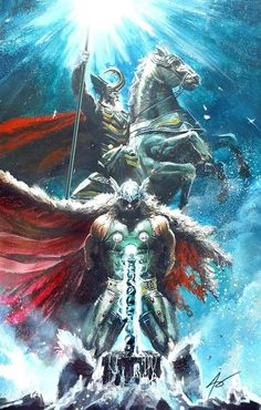 Thor and Odin - Asgard - Marvel Comic Book Characters, Comic Book Heroes, Marvel Characters, Comic Books Art, Comic Art, Marvel Comics, Hero Marvel, Marvel Vs, Asgard Marvel