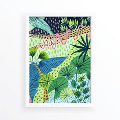 Jungle / Botanical Illustration / Jungle Print / Tropical / Home Decor / Dorm Wall Art / Botanical Print / Nursery Decor / Tropical Art Tropical Home Decor, Tropical Art, Tropical Houses, Dorm Walls, Jungle Print, Abstract Nature, Papua New Guinea, Botanical Illustration, Botanical Prints
