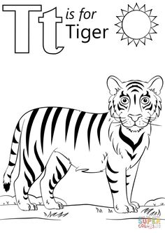 T is for Tiger coloring page from Letter T category. Select from 29500 printable crafts of cartoons, nature, animals, Bible and many more. Coloring Letters, Alphabet Coloring Pages, Coloring Pages To Print, Free Printable Coloring Pages, Coloring Book Pages, Coloring Pages For Kids, Colouring Sheets, Kids Coloring, Jungle Coloring Pages
