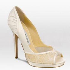 ad5f3488ea6 Jimmy Choo Gloss Satin Lace Peep-toe Bridal Shoes Ivory on sale Peep Toe  Wedding