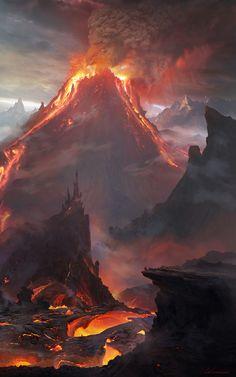 Volcano Keep Wilderness ne area lg Fantasy Art Landscapes, Fantasy Landscape, Landscape Art, Beautiful Landscapes, High Fantasy, Dark Fantasy Art, Fantasy World, Fantasy Concept Art, Fantasy Artwork