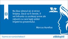 """""""Nu lăsa viitorul să-ţi strice liniştea. Dacă va fi nevoie, îl vei înfrunta cu aceleaşi arme ale raţiunii cu care lupţi astăzi împotriva prezentului."""" Marcus Aurelius"""