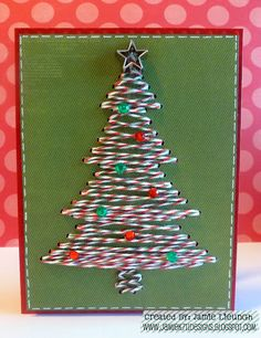 with Trendy Twine: Merry Christmas Eve! Uses the rhinestone feature on the Silhouette to create the holes. Button Christmas Cards, Christmas Tree Cards, Xmas Cards, Christmas Decorations, Christmas Snowman, Christmas Arts And Crafts, Handmade Christmas, Holiday Crafts, Primitive Christmas