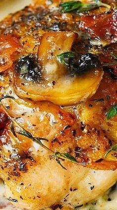 Chicken Thighs with Creamy Bacon Mushroom Thyme Sauce (gluten free, comfort food, dinner recipe)