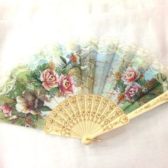 Vintage Victorian flower lace summer  fan for vintage  by CaSales, $3.00