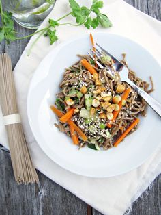 Cold sesame noodles with fresh veggies and honey-roasted peanuts