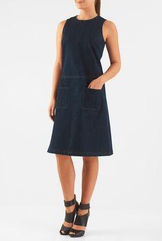 , chic dresses, deep indigo dresses, knee length dresses, machine wash dresses, pocket dresses, Shift dresses, sleeveless dresses
