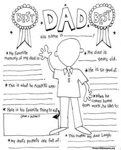 This free printable Father's Day Coloring Page is for the best dad! So fun to see how a child fills it out! Just download, print and color!