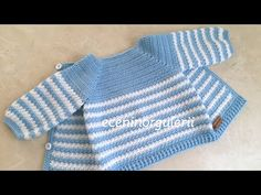Şiş Örgüsünden Farksız Model Tığ işi Bebek Hırkası/Erkek-Kız Bebek Ceketi/ 6-12 ay için - YouTube Cardigan Bebe, Crochet Baby Cardigan, Crochet Baby Clothes, Crochet Bebe, Crochet For Kids, Knit Crochet, Baby Dress, Crochet Patterns, Baby Boy