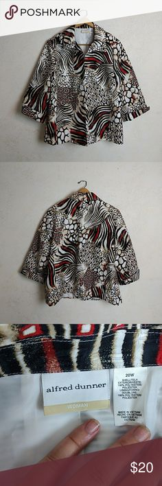 Patterned Alfred Dunner Jacket Size: 20W Condition: Very good Description: Patterned Alfred Dunner jacket, barely worn Alfred Dunner Jackets & Coats Blazers