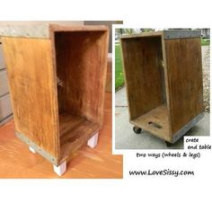 two styles of end table made from old crate (add legs or casters)