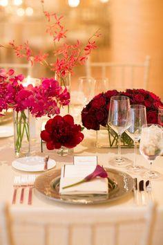 #place-settings, #centerpiece, #rose  Photography: Mi Belle Photography - mibelleinc.com Event Planning: Alexandra Kolendrianos - alexandrak.com Floral Design: Modern Day Design - moderndaydesign.com  Read More: http://www.stylemepretty.com/2013/06/04/santa-barbara-wedding-from-alexandra-kolendrianos/