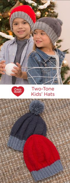 Two-Tone Kids' Hats Free Knitting Pattern in Red Heart Yarns -- Here's a great fitting kids' knit hat with stretchy ribbed edging and smooth yarn for comfort. Add a big pompom if you wish. It's the perfect hat style for holiday gifting!