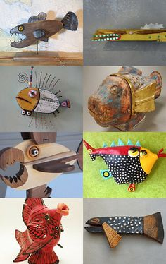 Funny fishes sculptures by francecharivari on Etsy--Pinned with TreasuryPin.com