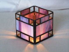 Blue-Purple Stained Glass Candle Holder by GreenhouseGlassworks