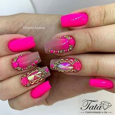 Nail art designs - come on look over the handy method ref 2363194491 right now. - - Nail art designs - come on look over the handy method ref 2363194491 right now. Diy Nail Designs, Short Nail Designs, Aycrlic Nails, Bling Nails, Fabulous Nails, Gorgeous Nails, Pink Black Nails, Summer Nails 2018, Gel Nail Polish Colors