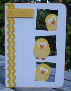 Easter card using stampin up owl punch as a chick