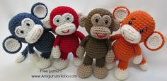 Free Crochet Pattern, Little Bigfoot Monkey Revised Pattern Video Tutorial...I love these guys!! Must make ♡ Teresa Restegui http://www.pinterest.com/teretegui/ ♡