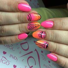Hybrydy Oh So Special, Macarena oraz Gel Paint Black by Indigo Educator Anna Leśniewska #indigo #nails #nail #nailart #pink #spring #orange #aztec #black