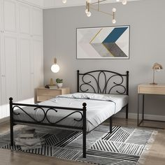 $119.99  GreenForest Twin Bed Frame with Headboard Footboard Platform Bed Heavy Duty Metal Slats Mattress Foundation No Box Spring Needed,Black