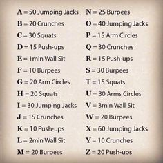 Use the Alphabet workout to learn a new word daily, or read a bible verse daily. maybe spell your name..ALL while working out