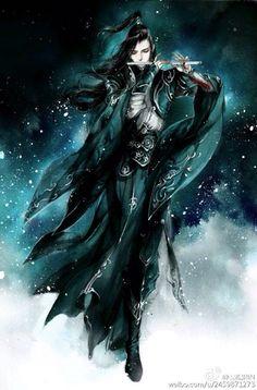 flute player in snow chinese illustration watercolor. Fantasy Art Men, Fantasy Warrior, Fantasy Artwork, Manga Art, Anime Art, Character Sketches, Character Art, China Art, Art Graphique