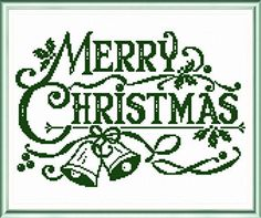 Green Merry Christmas - Christmas cross stitch pattern by Ursula Michael.