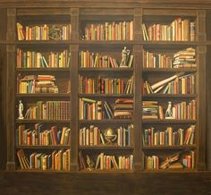 fake bookcase wallpaper - Google Search | bookcase wallpaper ...
